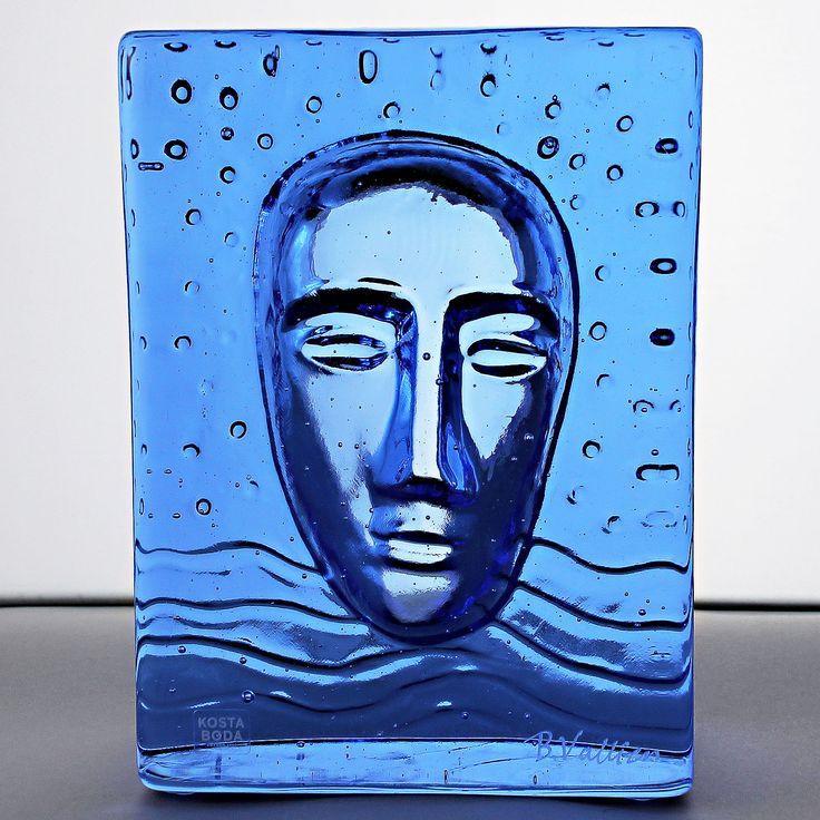 Bertil Vallien (2000s) Mythological Blue Glass Sculpture Face