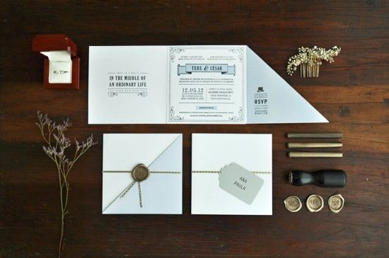Oh So Beautiful Paper: Tere + César's 1920s Inspired Letterpress Wedding Invitations