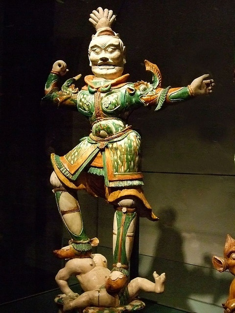 Tomb guardian glazed earthenware Tang Dynasty 618 to 906 CE China 1 by mharrsch, via Flickr