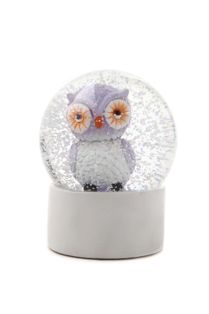 Typo Snow Globe - Owl Lavender