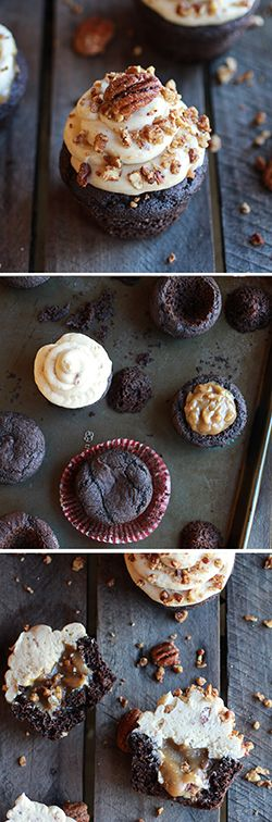 Chocolate Bourbon Pecan Pie Cupcakes with Butter Pecan Frosting | www.halfbakedharvest.com
