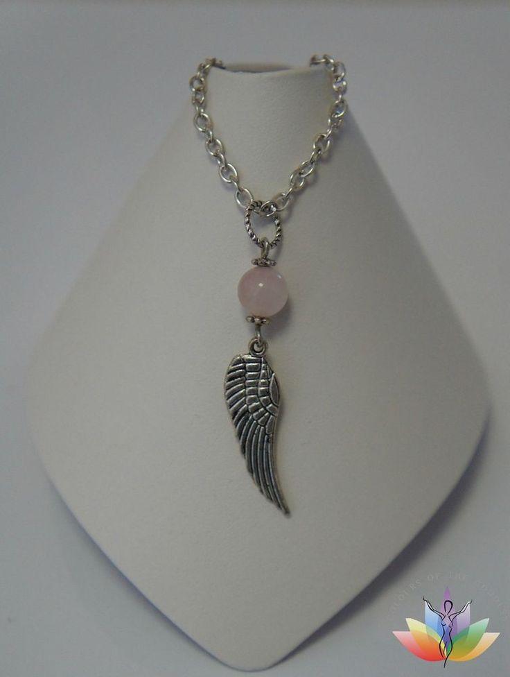 Spiritual Self Love Wings of an Angel Rose Quartz Pendant Necklace Pink