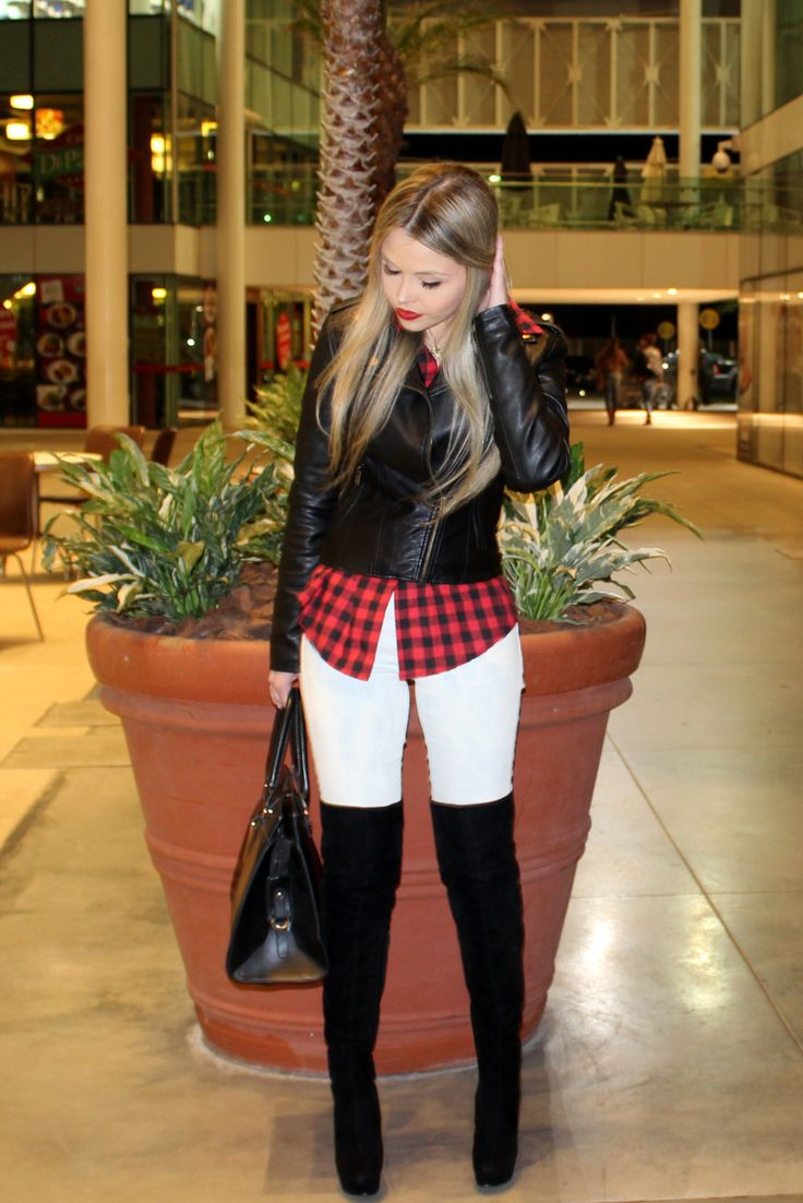 sininhu sylvia santini my look blog got sin shopping iguatemi saw fashion blog fashion 2014 red plaid shirt thigh high boots long barrel Obey leather jacket grunge 16