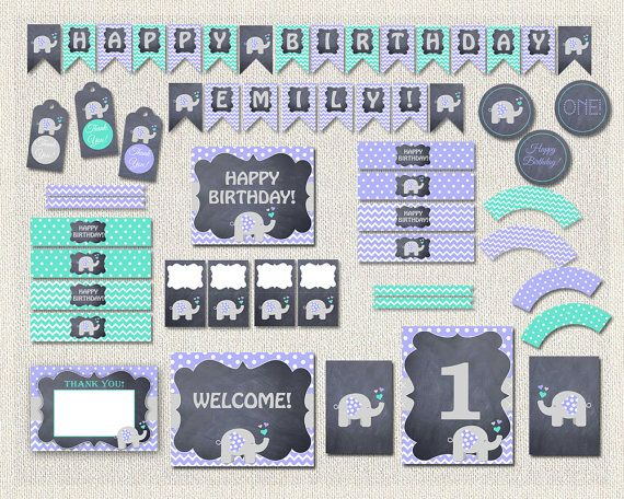 Purple Chalkboard Elephant Printable Party by PixiePerfectParties