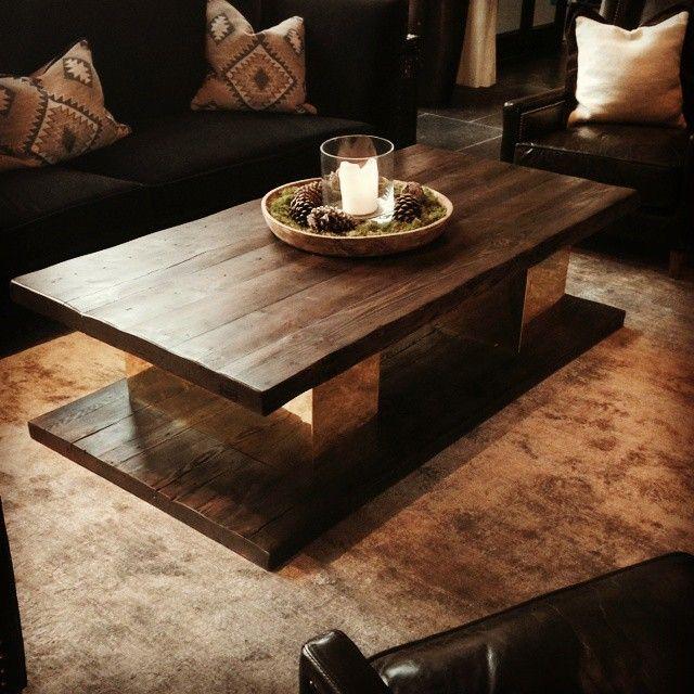 Herlig bord som vi laget for Vestlia resort på Geilo.  #håndlagetavoss #barefordeg #gjenbruksmaterialer #messing www.drivved.no