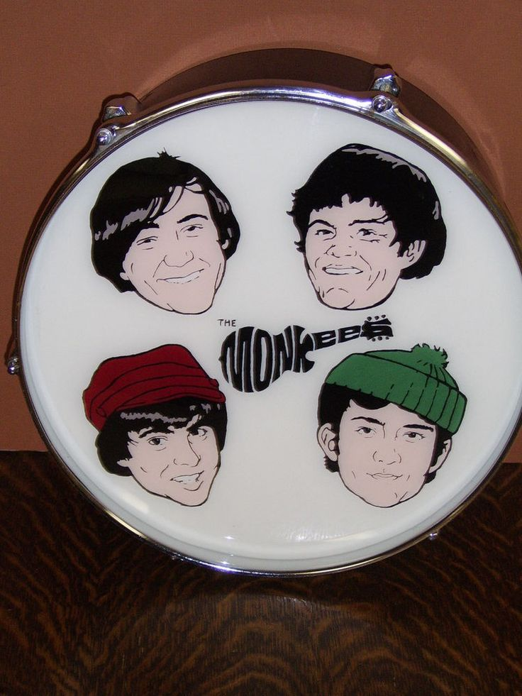 "UNIQUE HANDCRAFTED 13"" DRUM with MONKEES PICTURES & LOGO made by Greg Hayes"
