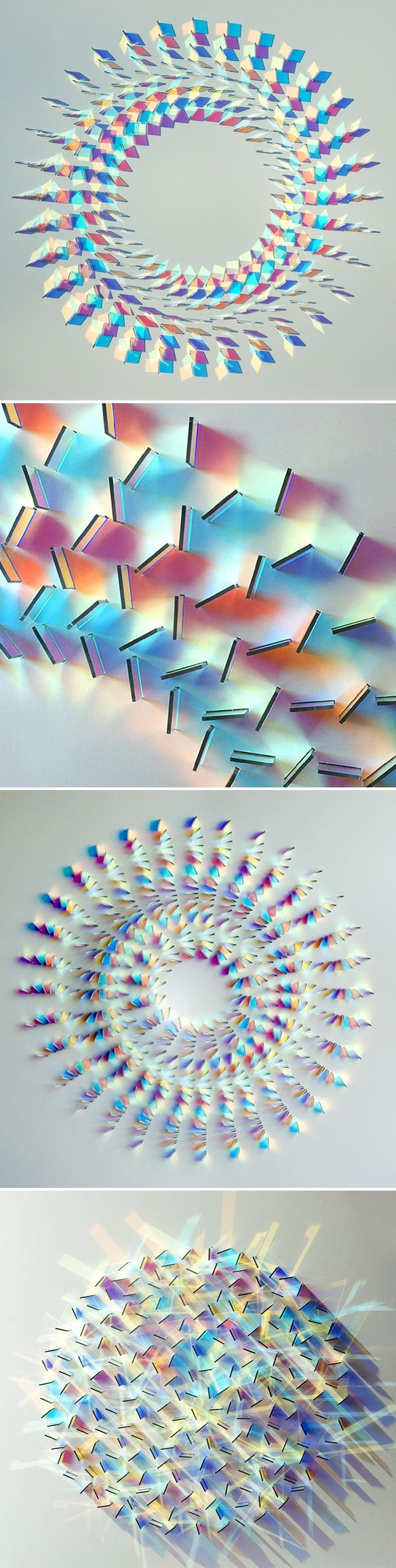 "These are glass wall panel installations by UK based artist Chris Wood. She says that her work is about expressing the ""magic of light""."