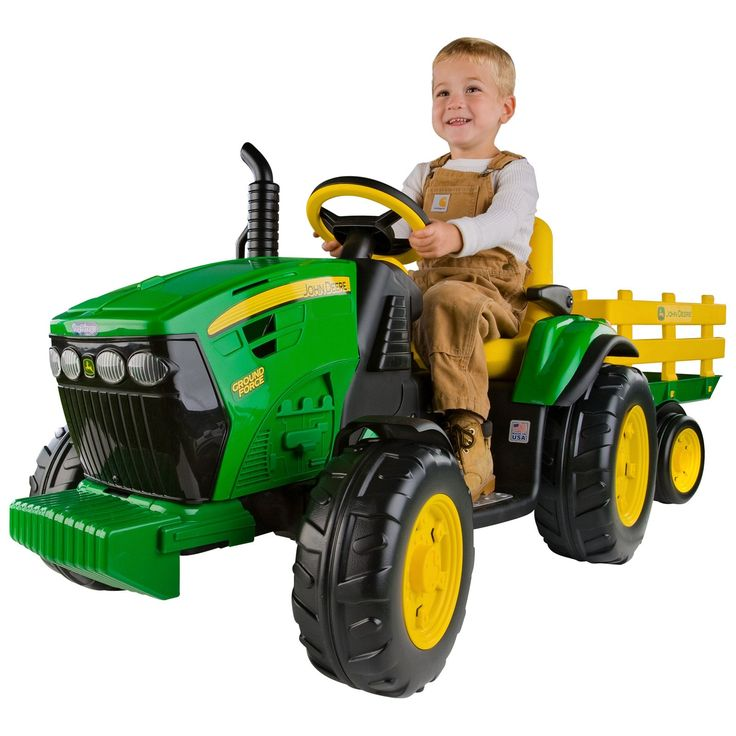 Peg-Perego John Deere Battery Powered Ground Force Tractor with Trailer $299.99