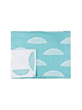 Kids Sky Blue Cloud Throw from Linen House's Hiccups range, available at Forty Winks.