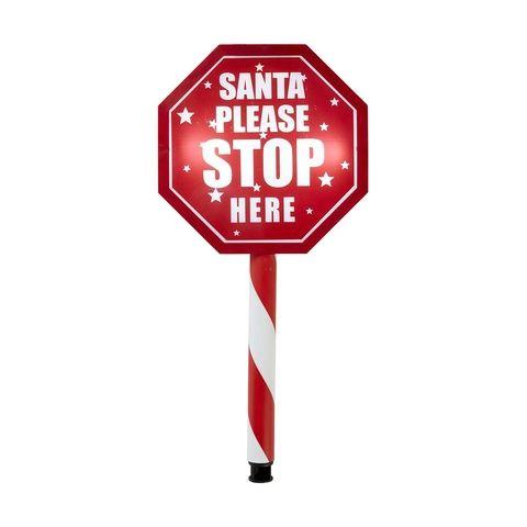 Santa Stop Here Solar Light Up Stake