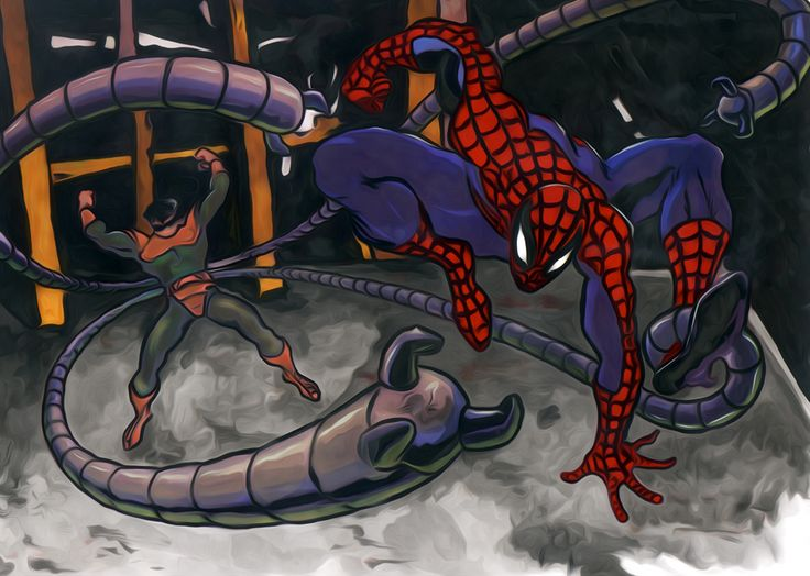 Spider-Man vs Doc Ock.  Based on a seri-cel from the animated Fox series.  Mixed Media.