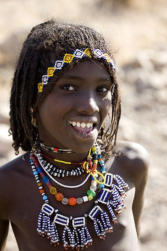 Africa | Afar girl with sharpened teeth smiling, Danakil, Ethiopia | © Eric Lafforgue