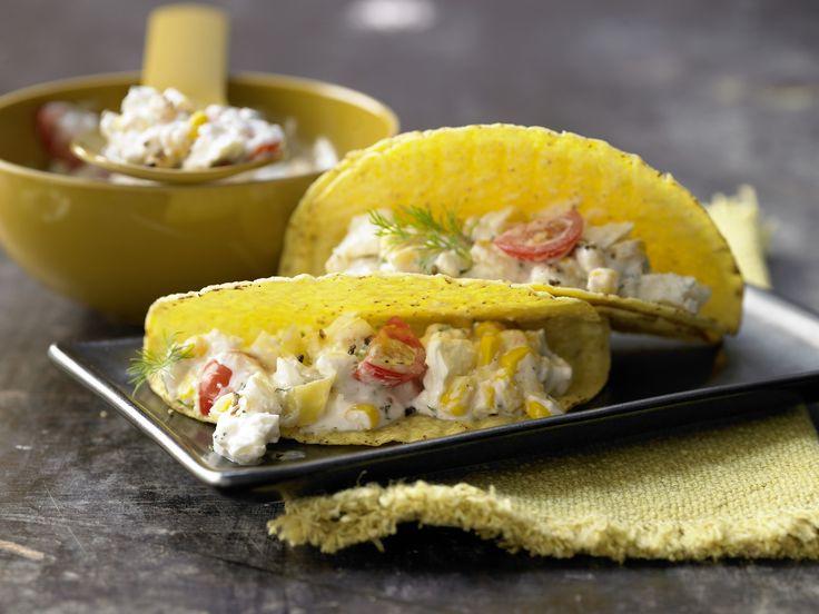 Gefüllte Tacos mit Schafskäse - und Kräuter-Gemüse-Joghurt - smarter - Kalorien: 262 Kcal - Zeit: 15 Min. | eatsmarter.de