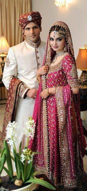 Pakistani wedding. wish his turban was pink to match her :)