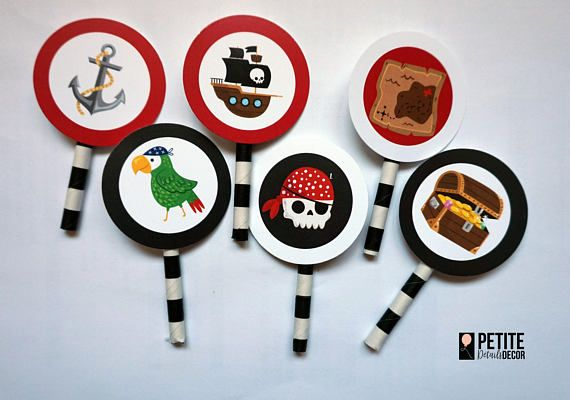 The perfect collection of pirate inspired items for next pirate themed event. Items are available for individual purchase or as a package deal: A) 6x round 2 cupcake toppers B) 6x 2.5 shape cutout cupcake toppers C) 1x 6 shape cutout cake topper D) 1x Happy Birthday Banner (up to