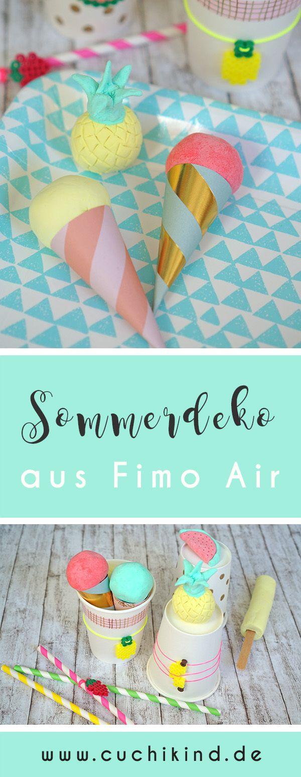Ananas, Wassermelone, Waffeleis und Eis am Stiel aus Fimo Air light für die nächste Sommerparty oder das Kinderfest.