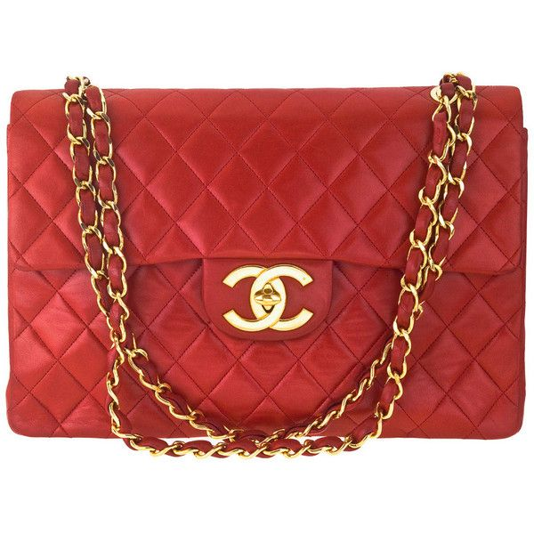 Chanel - CHANEL RED 2.55 JUMBO QUILTED BAG ❤ liked on Polyvore