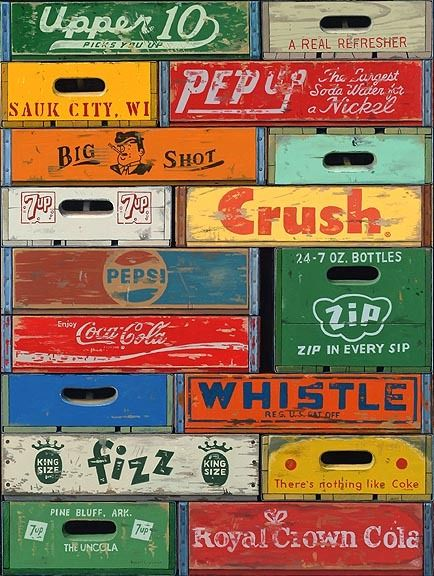 .Great graphics on old pop crates.