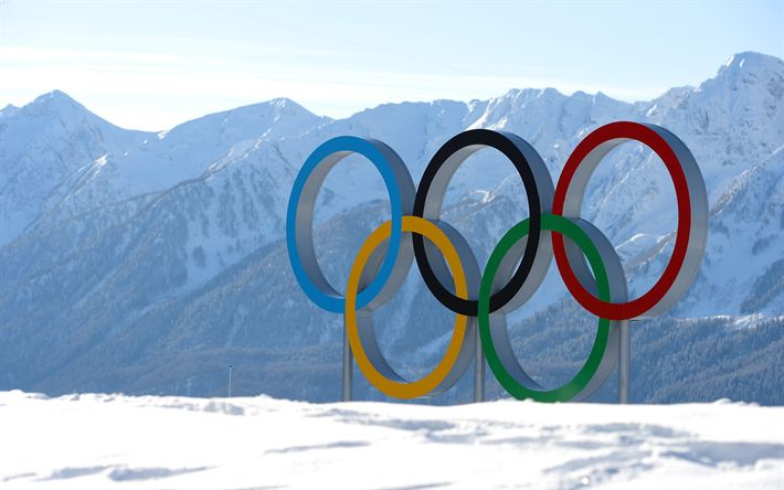 Download wallpapers Pyeongchang 2018, 4k, 2018 Winter Olympic Games, Olympic rings, South Korea