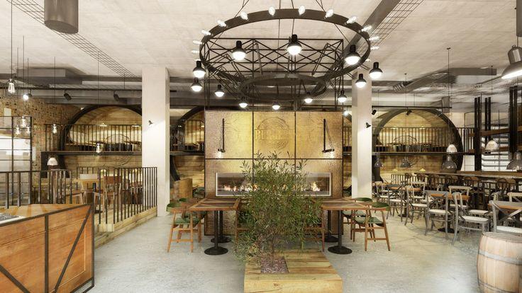 Restaurant in Bochnia. New York style. Industrial design.