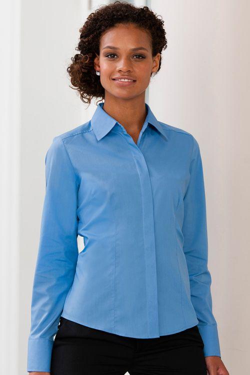 Cămaşă de damă Poplin cu mâneca lungă Russell Collection  | logofashion.ro #camasidama #camasipromotionale #camasipersonalizate #business #workwear #gastrowear