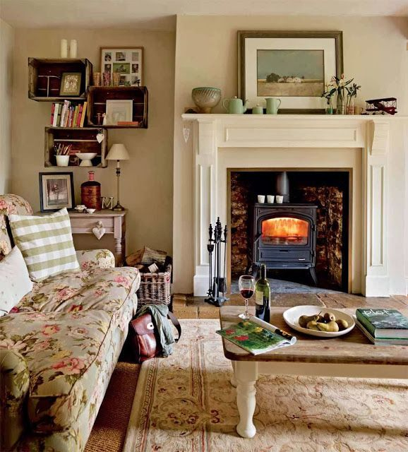 Lismary's cottage... I used to have flower crates for shelves in my flower shop... love this room