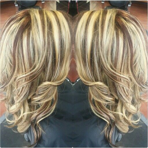 Red And Blonde Highlights And Lowlights Chunky Sliced