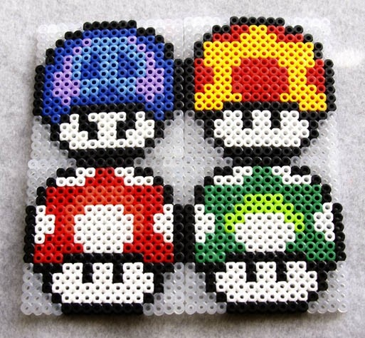 Perler Bead Mario Mushroom Coaster Set By Argentacollaborative