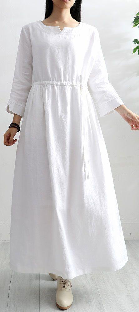Frauen hohe taille leinen kleid tunika tops weiß o neck kleider   – spring linen dresses