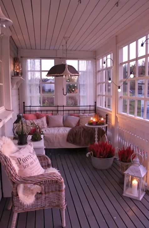 veranda with old windows..this would like nice on our screened in side porch.