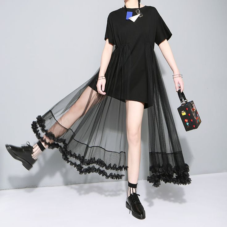 Twotwinstyle Original 2016 Summer T-shirt Stitching Lace Mesh Dress Casual