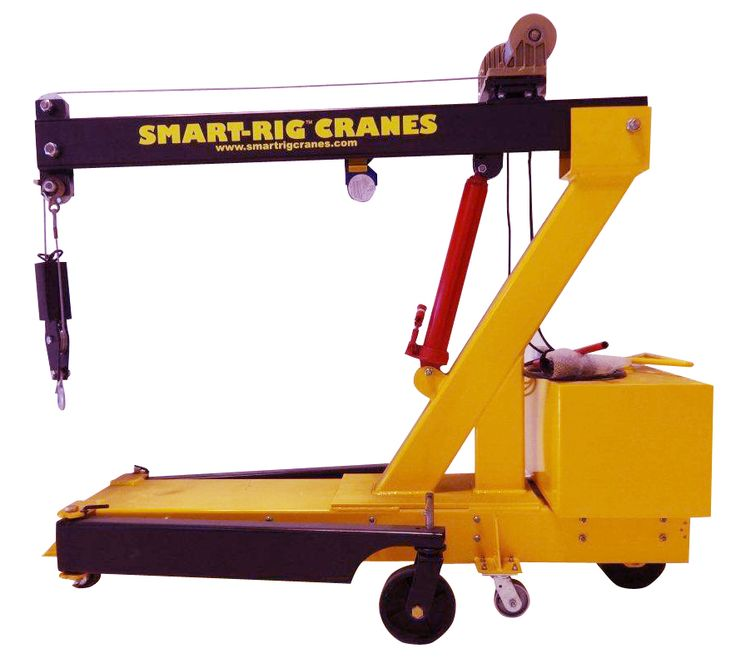 Microcranes, Inc. T1 Model hand crank portable mini crane for lifting materials, installing panels, glass, steel, HVAC, motors, pumps, statues. Electric version available. 1,200 lb. cap. single line. No operator license needed. Hook with latch. Brake on winch. Double line w/ snatch block. Safety stops on boom. Rear steer brake. Pick and carry. Fits through doors and elevators. Hand pump hydraulic jack.