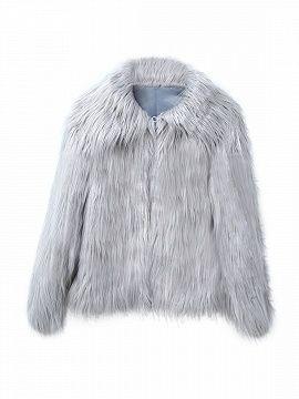 Gray Vintage Style Faux Fur Coat