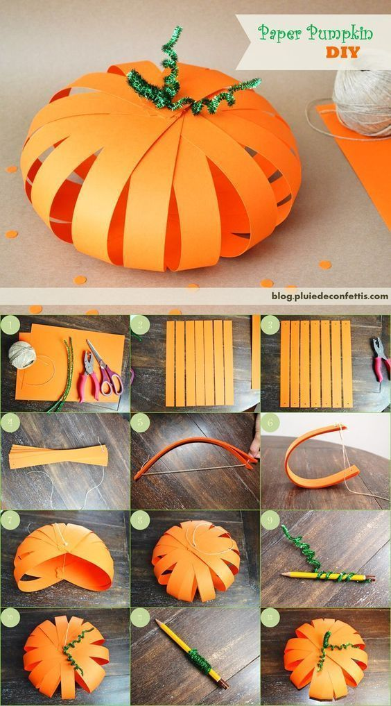 Best 12 DIY paper pumpkin for Halloween Page