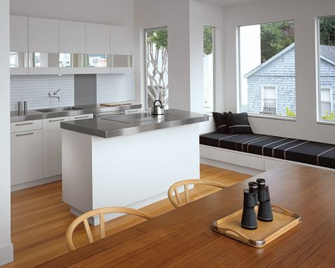A kitchen window seat can be a clean, modern affair. But the black would show all of the pet hair that would inevitably collect.