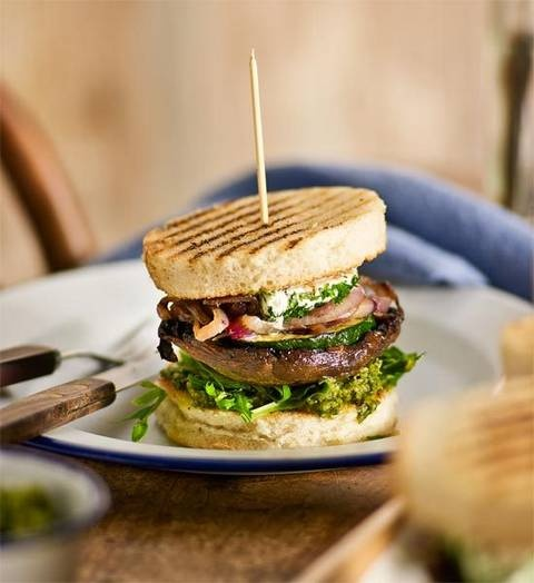 Vegetable burger: Grilled mushroom and zucchini? Yes! Goat's cheese and basil pesto? Hooray! Vegetarians rejoice, this tower of taste is especially for you!
