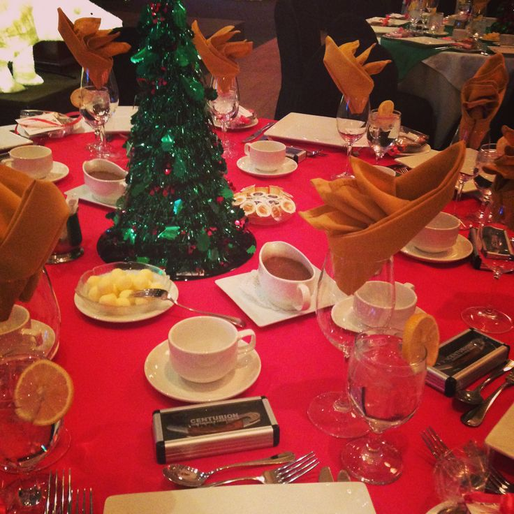 Holiday Decor. Red, green and gold. Christmas trees. Festive luncheon