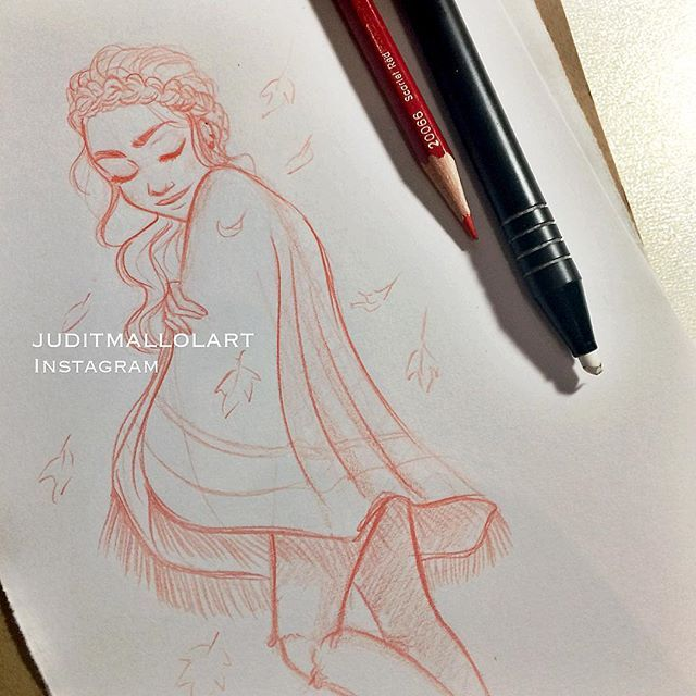 Instagram media by juditmallolart - Autumn is my fav season! Cozy sweaters and ponchos yay
