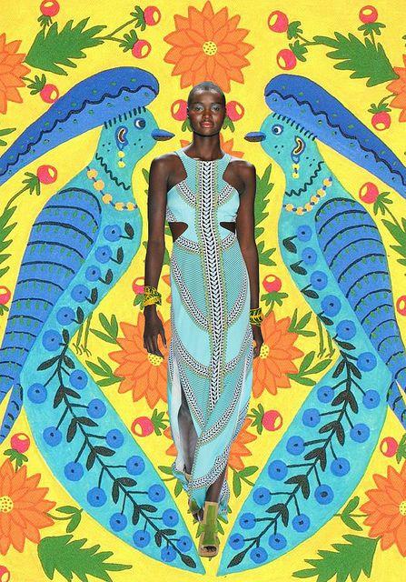 missmoss: Mara Hoffman Dresses, Artists, Moss Art, Folk Art, Art Paintings, Fashion Week, Colors, Flowers Power, Africans Prints