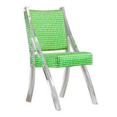 A Single Lucite Chair with Original Green Upholstery 1970s