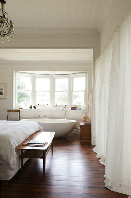 white walls, wood floors: Dreams Bedrooms, Bath Tubs, Bathtubs, Master Bedrooms, White Bedrooms, Design File, Bath In Bedrooms, Bays Window, White Wall