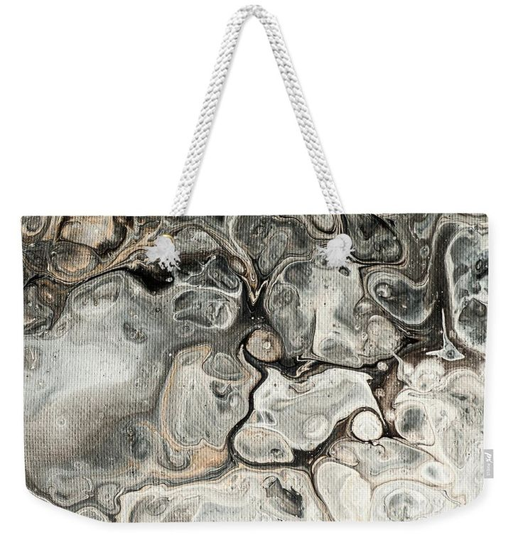 "Fifty Shades Of Grey Fragment 1.  Abstract Fluid Acrylic Painting Weekender Tote Bag (24"" x 16"") by Jenny Rainbow.  The tote bag includes cotton rope handle for easy carrying on your shoulder.  All totes are available for worldwide shipping and include a money-back guarantee."