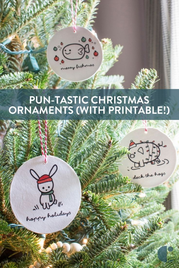 Punny Christmas ornaments DIY (with printable) - It's time to deck the hogs and have a hoppy holiday!