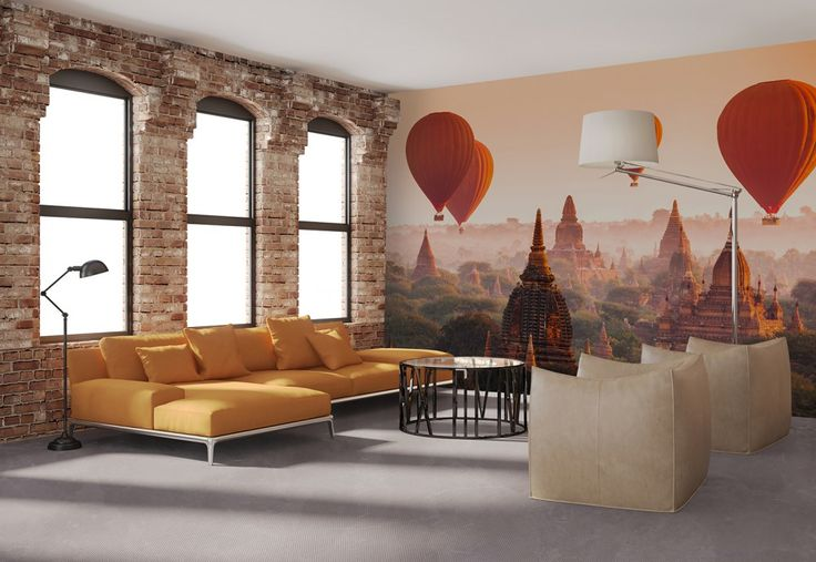 Non-Woven Wall Mural Ballons over Bagan Premium Wall Murals Non-Woven Wall Murals 8-part