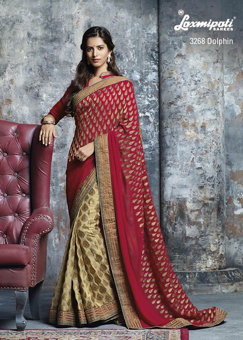 """You Rule!"" the party or occasion with Marvelous Indian red georgette embellish pallu & golden viscose patli are amazing mixture."