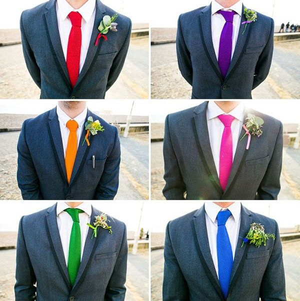 Groomsmen with brightly colored ties and boutonnieres