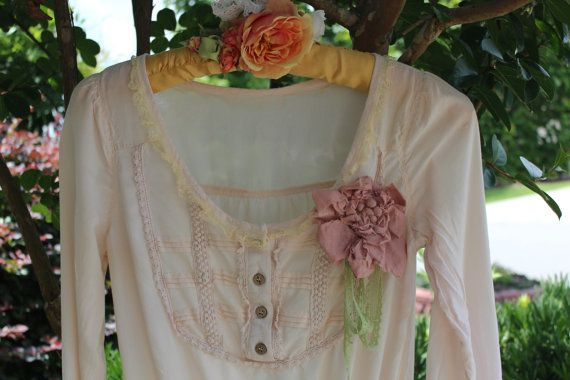 Romantic Boho Poets Shirt  Pale Pink  With Lace  Gypsy by IzzyRoo, $34.99