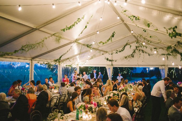 Marquee wedding, 10m marquee, white roof, clear walls, festoon lighting, south coast weddings, south coast party hire