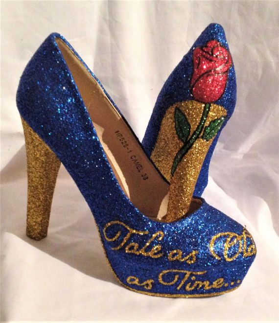 These are Disney Beauty And The Beast heels that are made to order.  They have a rose on one heel and they say Tale as old as time on the other  Uk sizes 3-8  If you have any questions then please email me...