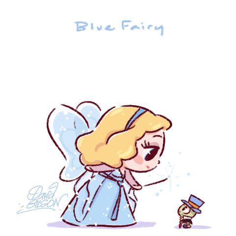 Disney's Chibies of Blue Fairy & Jiminy Cricket , Alice & Dinah, Wendy & Tinkerbell . https://www.facebook.com/artofdavidgilson/